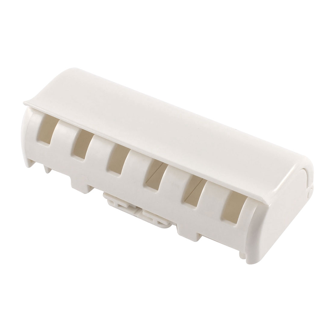 White Plastic 6 Capacity Wall Mount Stand Toothbrush Holder Shelf w Sticker