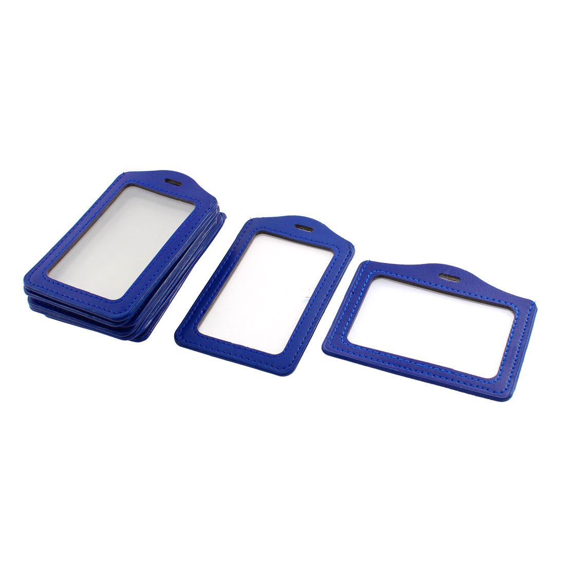 Business Worker Blue Faux Leather Vertical Horizontal Work ID Card Holders 10 Pcs