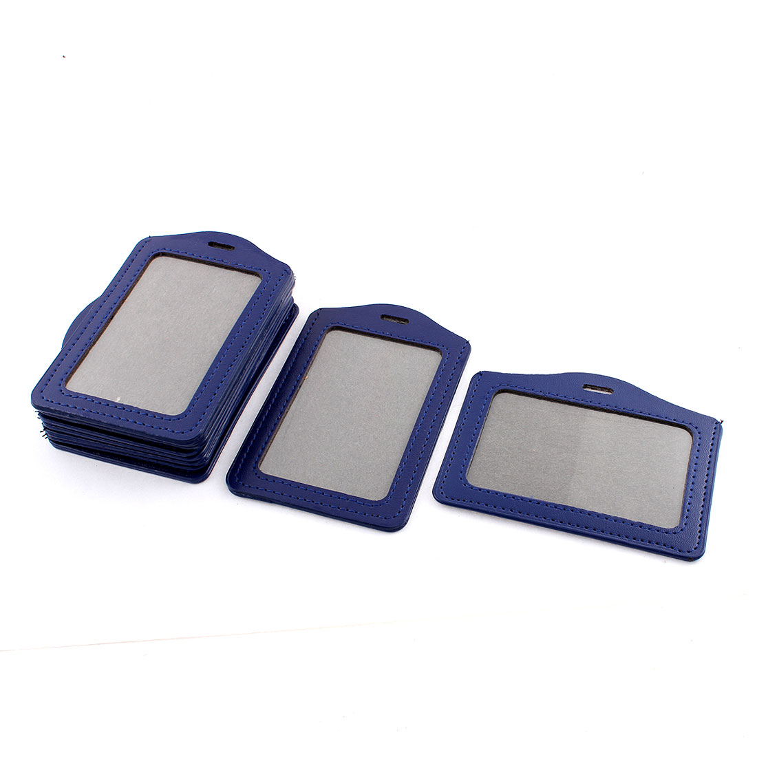 Clear Blue Faux Leather Vertical Horizontal Badge ID Card Holders 10 Pcs