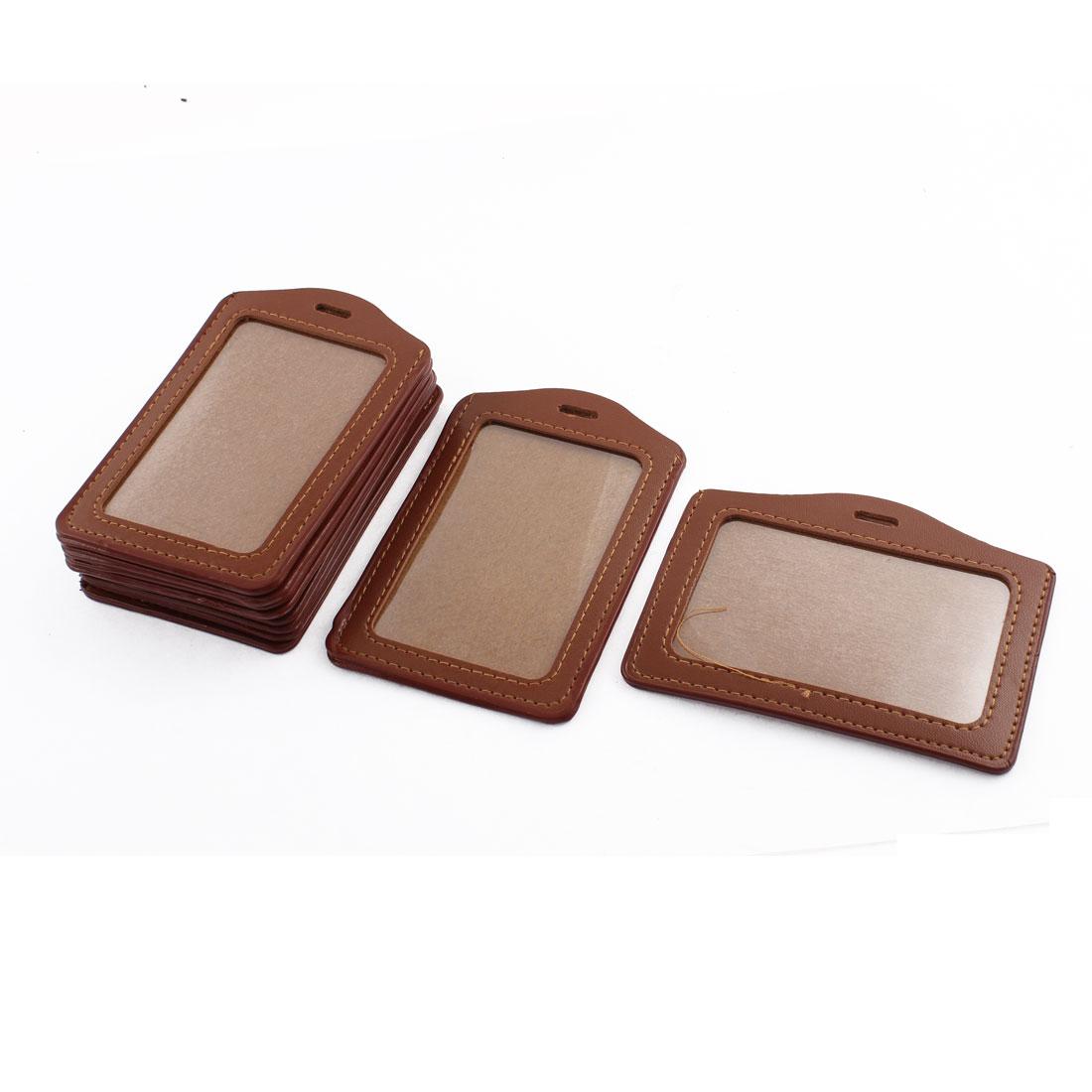 Brown Single Side Retangle Vertical Horizontal Badge ID Card Holders 10 Pcs