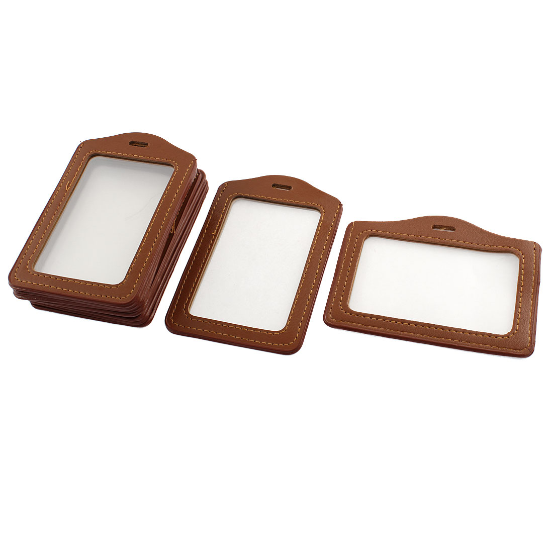 Business Brown Faux Leather Vertical Horizontal Two Side ID Card Holders 10 Pcs