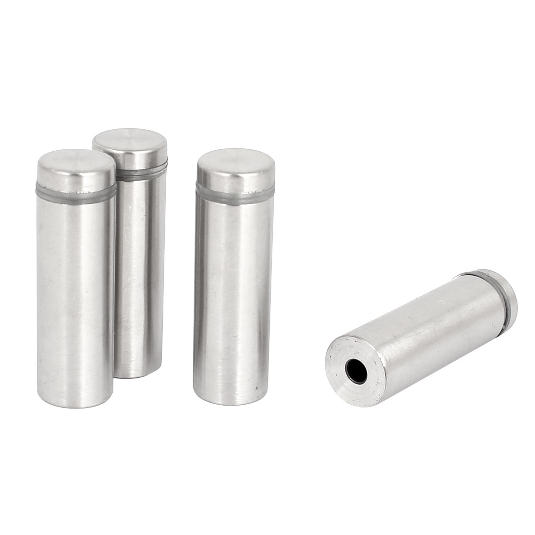 16mm x 50mm Silver Tone Advertising Nails Frameless Glass Standoff 4 Pcs