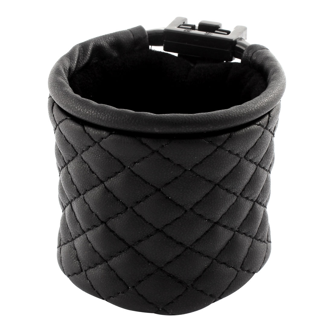 Faux Leather Grid Style Hanging Car Air Vent Mobile Phone MP3 Pouch Holder Black