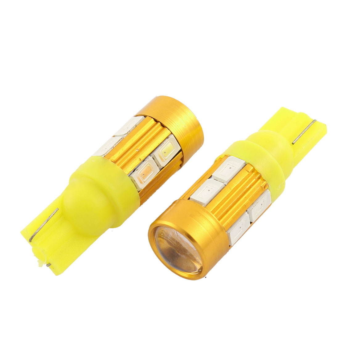 2 Pcs T10 W5W Wedge Yellow 5630 SMD 10 LED Car Dashboard Lamp Bulb Interior