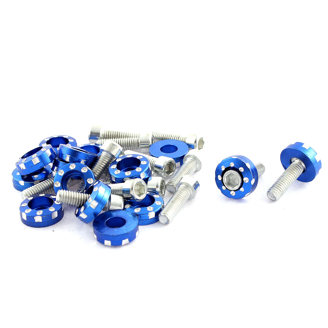 15 Pcs M6 Thread Dia Blue Metal Car Decorative License Plate Bolt Screw