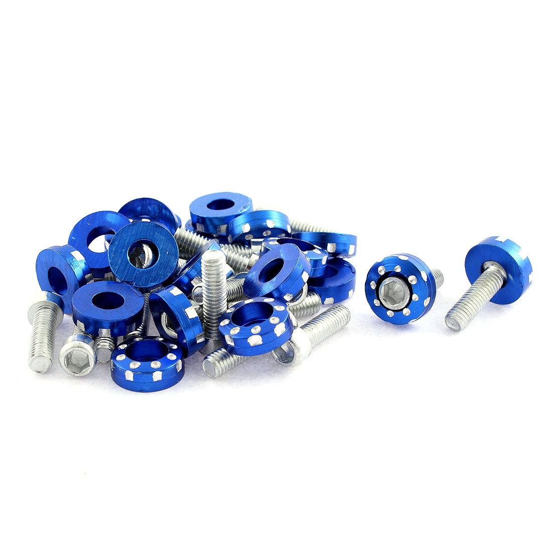 20 Pcs 6mm Thread Dia License Plate Screws Bolts Decoration Blue for Car Truck