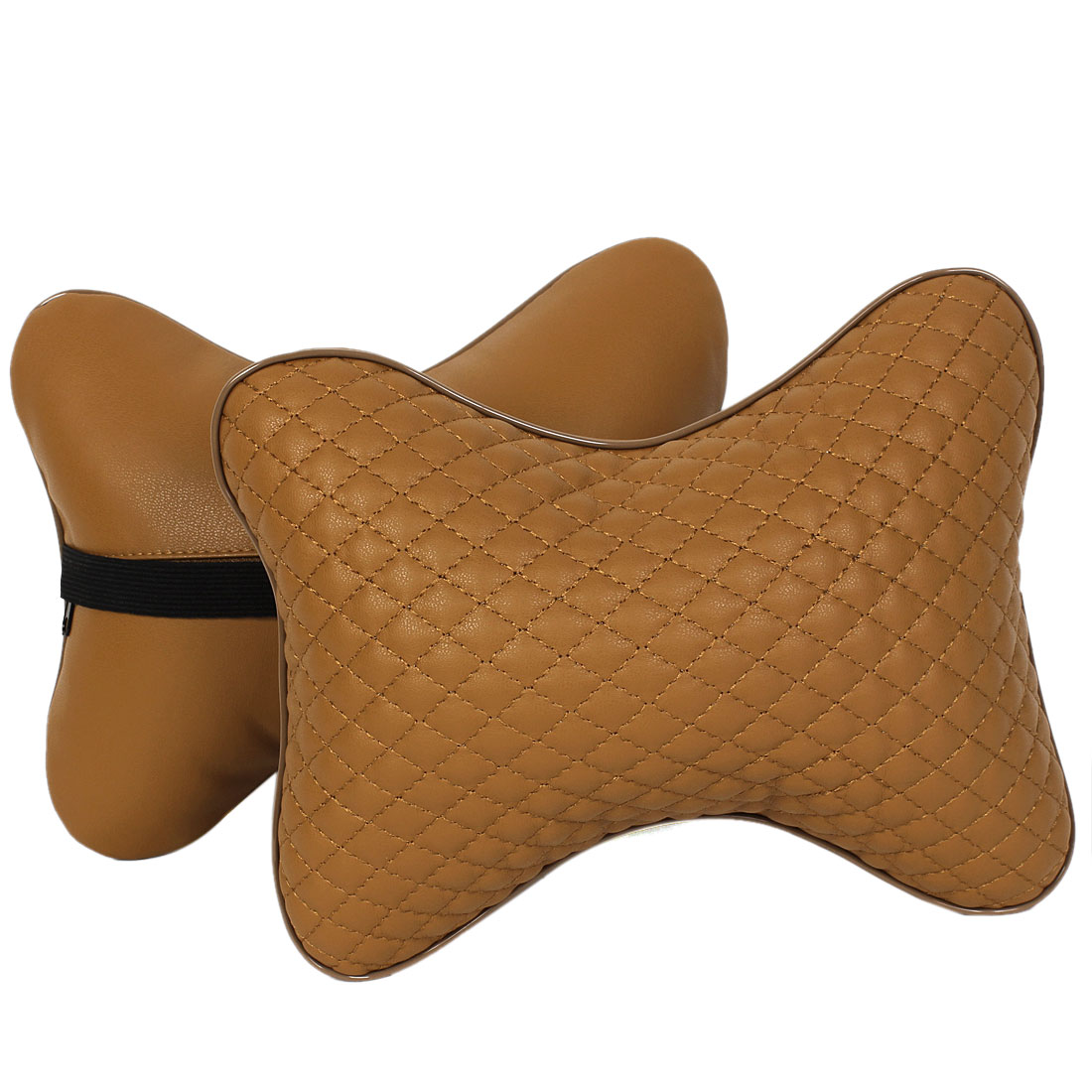 Car Brown Bone Shape Rhombus Pattern Neck Rest Breathe Cushion Pillow Pair