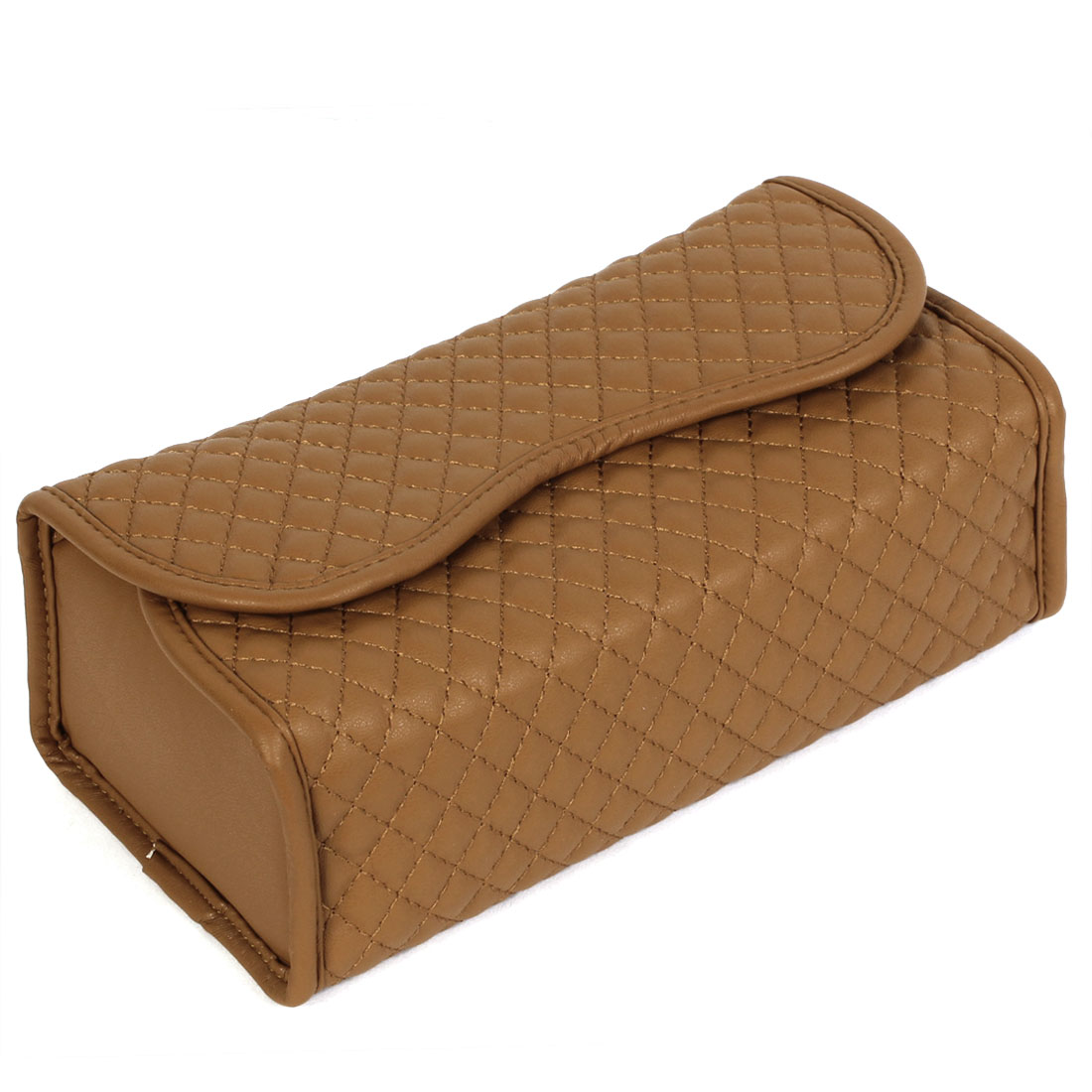 Brown Faux Leather Rhombus Pattern Napkin Paper Holder Case Tissue Box for Car