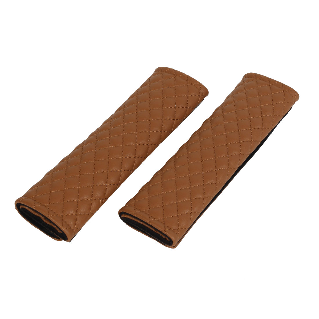 2 Pcs Rhombus Pattern Faux Leather Car Safety Seat Belt Shoulder Pad Cover Brown
