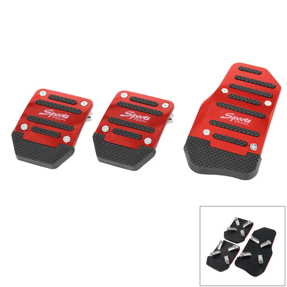 3 in 1 Burgundy Black Non-slip Gas Clutch Brake Pedal Pad Cover Set for Car Auto