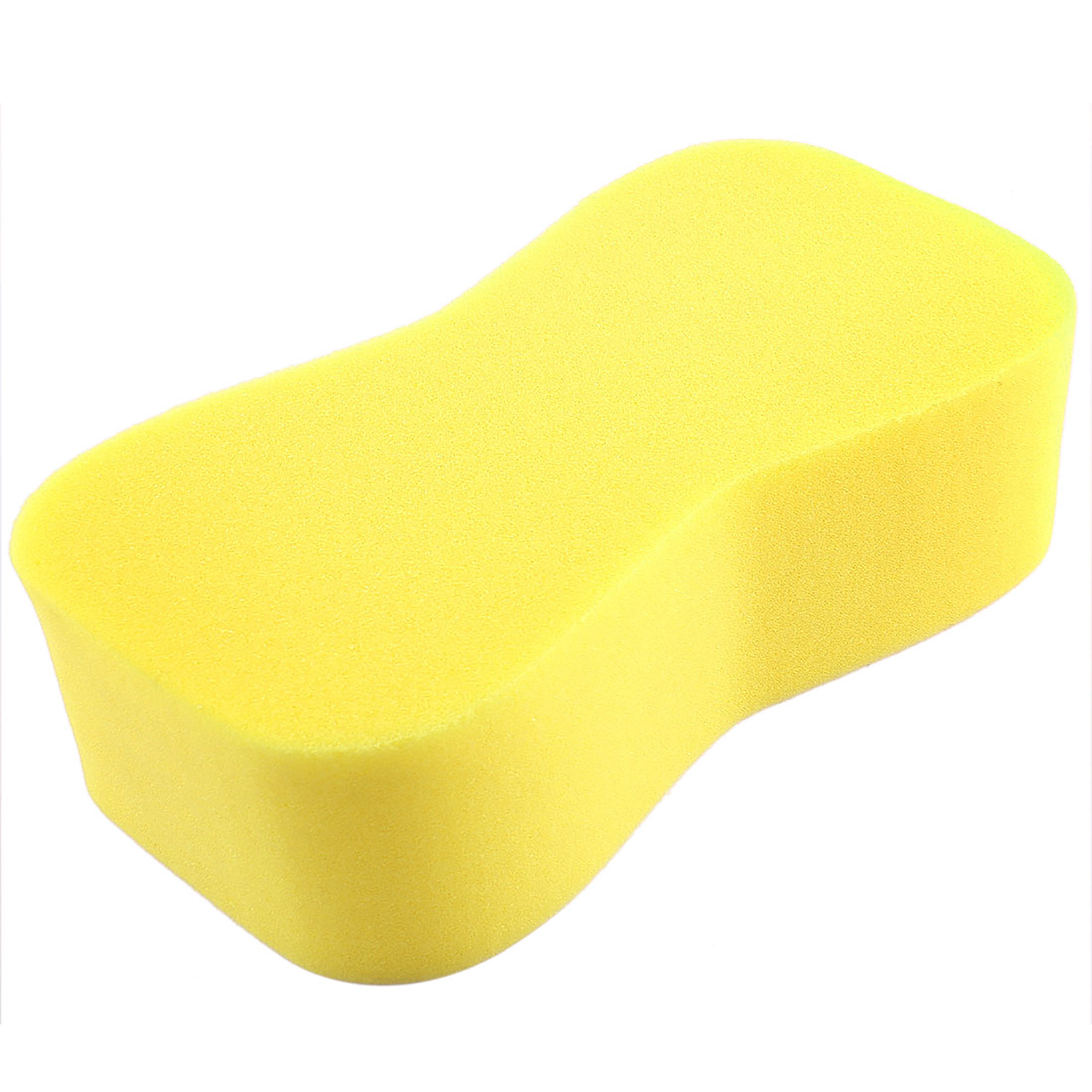Yellow 8 Shape Cleaner Tool Car Automobile Washing Sponge Pad