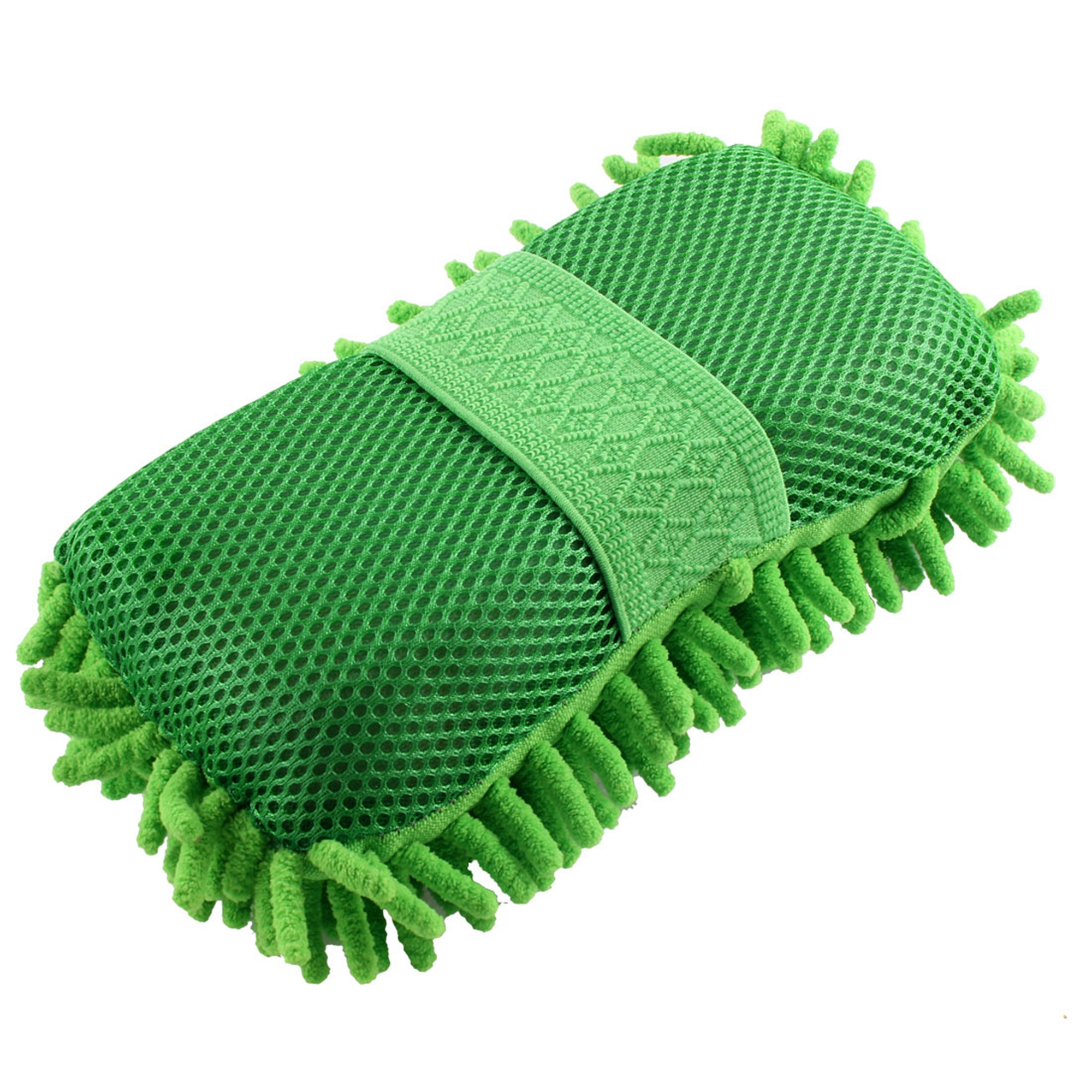 Microfiber Chenille Cleaning Tool Washing Brush Sponge Pad Green for Car Vehicle