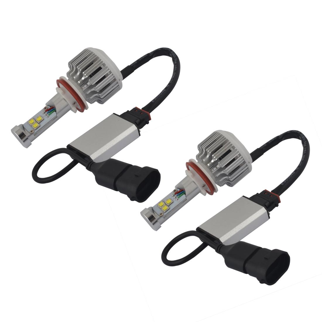 2 Pcs H11 12V 35W 6000K White 3 SMD LED Headlight Bulbs Fog Light Lamp for Car