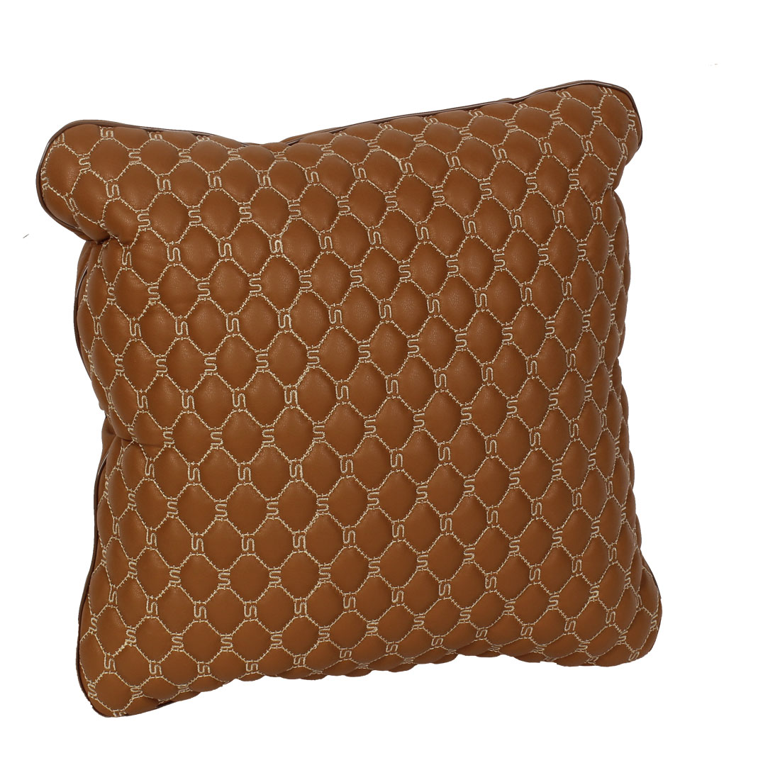 37cm x 35cm Brown Zipper Closure Seat Waist Back Throw Pillow Cushion for Car