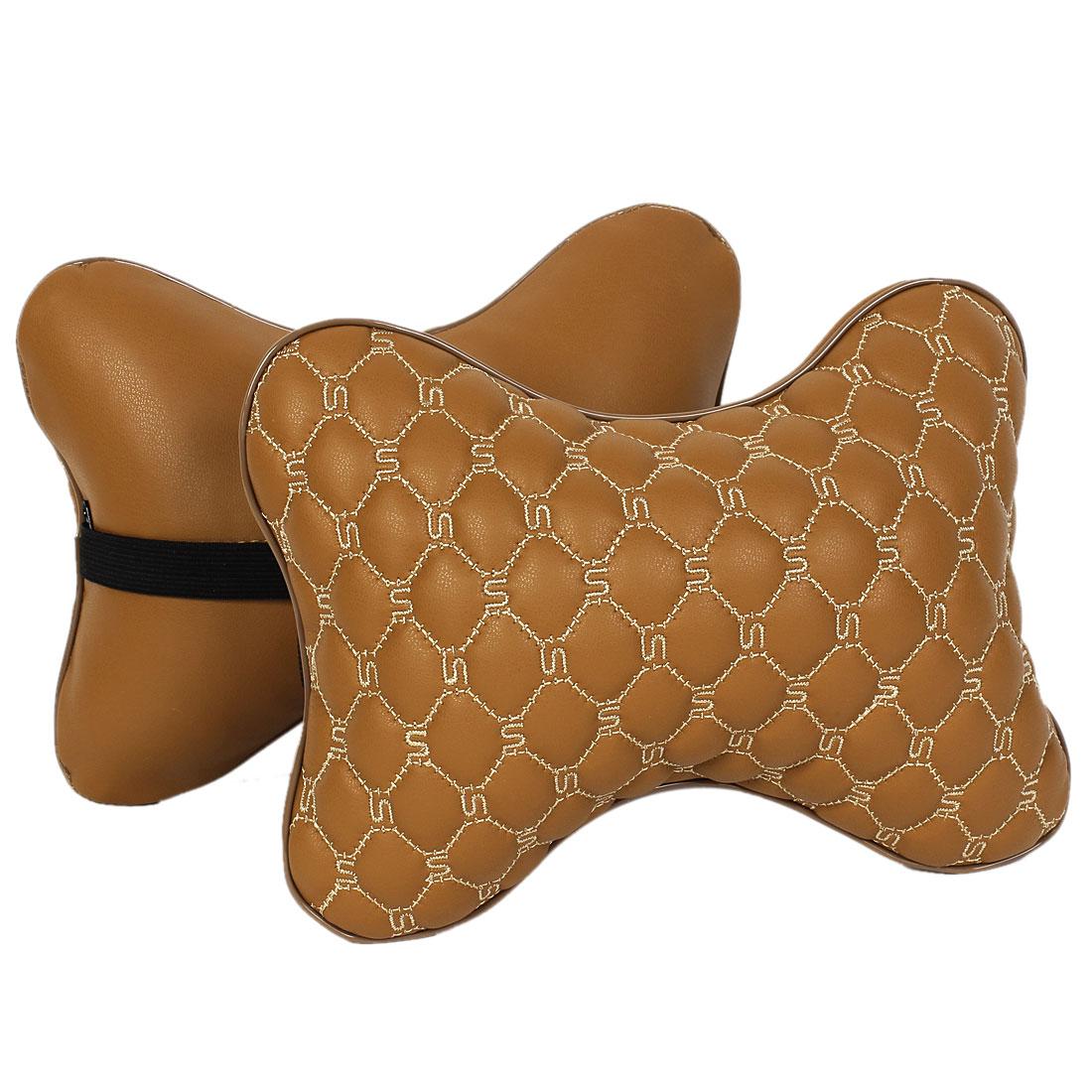 2 Pcs Brown Bone Shape Seat Head Neck Rest Cushion Headrest Pillow Pad for Car