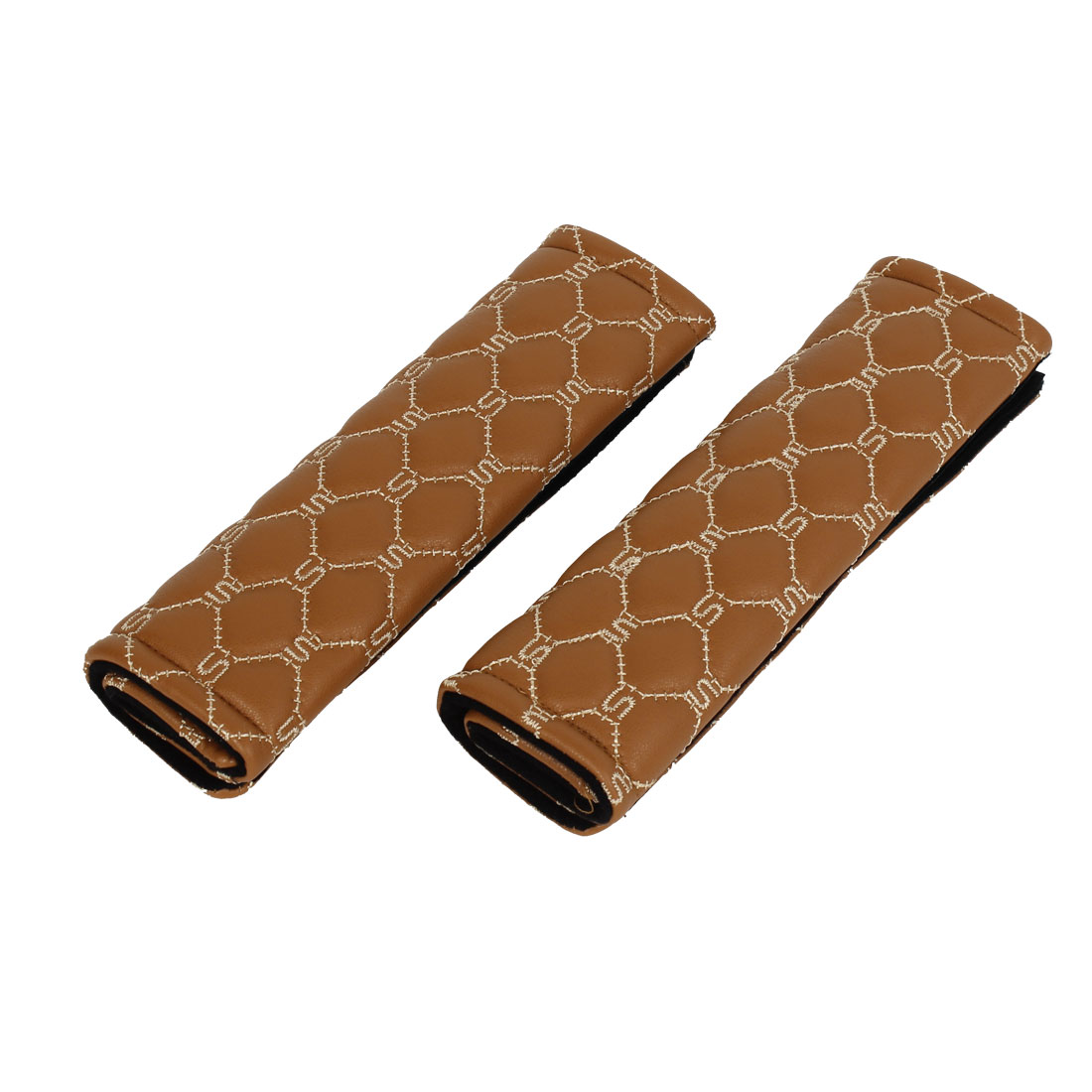 Car Auto 225mm Long Brown Faux Leather Safety Seatbelt Shoulder Pad Cover 2 Pcs