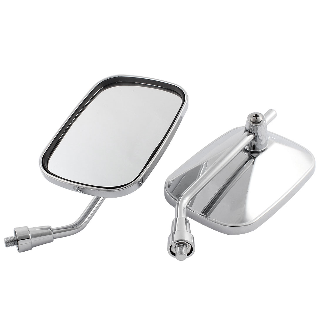 2 Pcs Silver Tone Chrome Wide Angle Blind Spot Rearview Mirror for Motorcycle