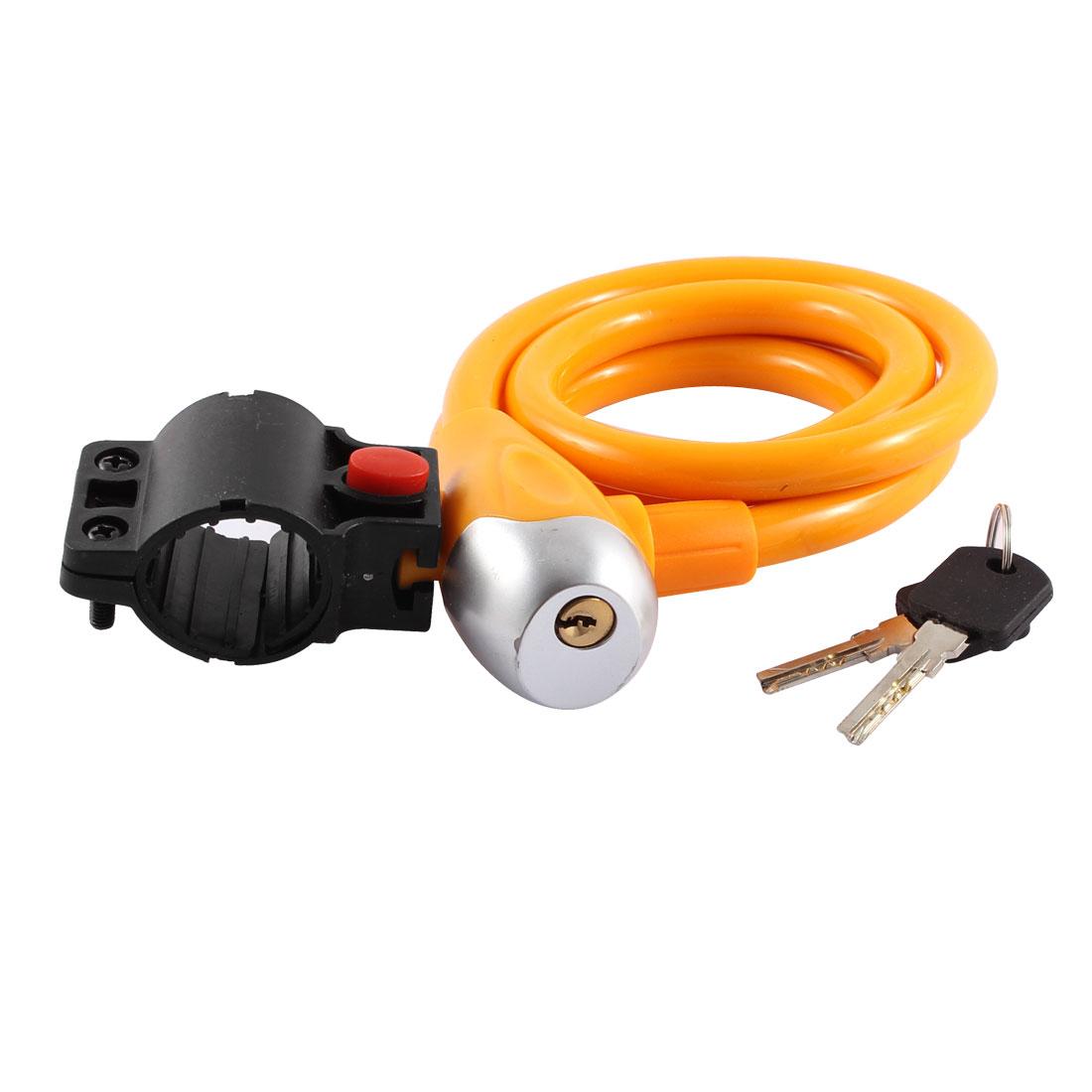 1.2m Length Bicycle Safeguard Steel Wire Inside Locking Lock Yellow w 2 Key