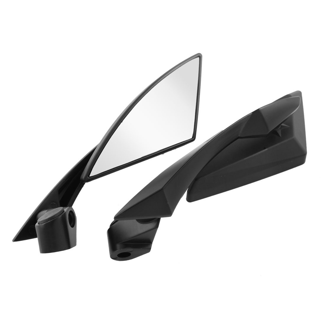 2 Pcs Black Plastic Frame Triangular Shaped Motorcycle Rear View Mirrors