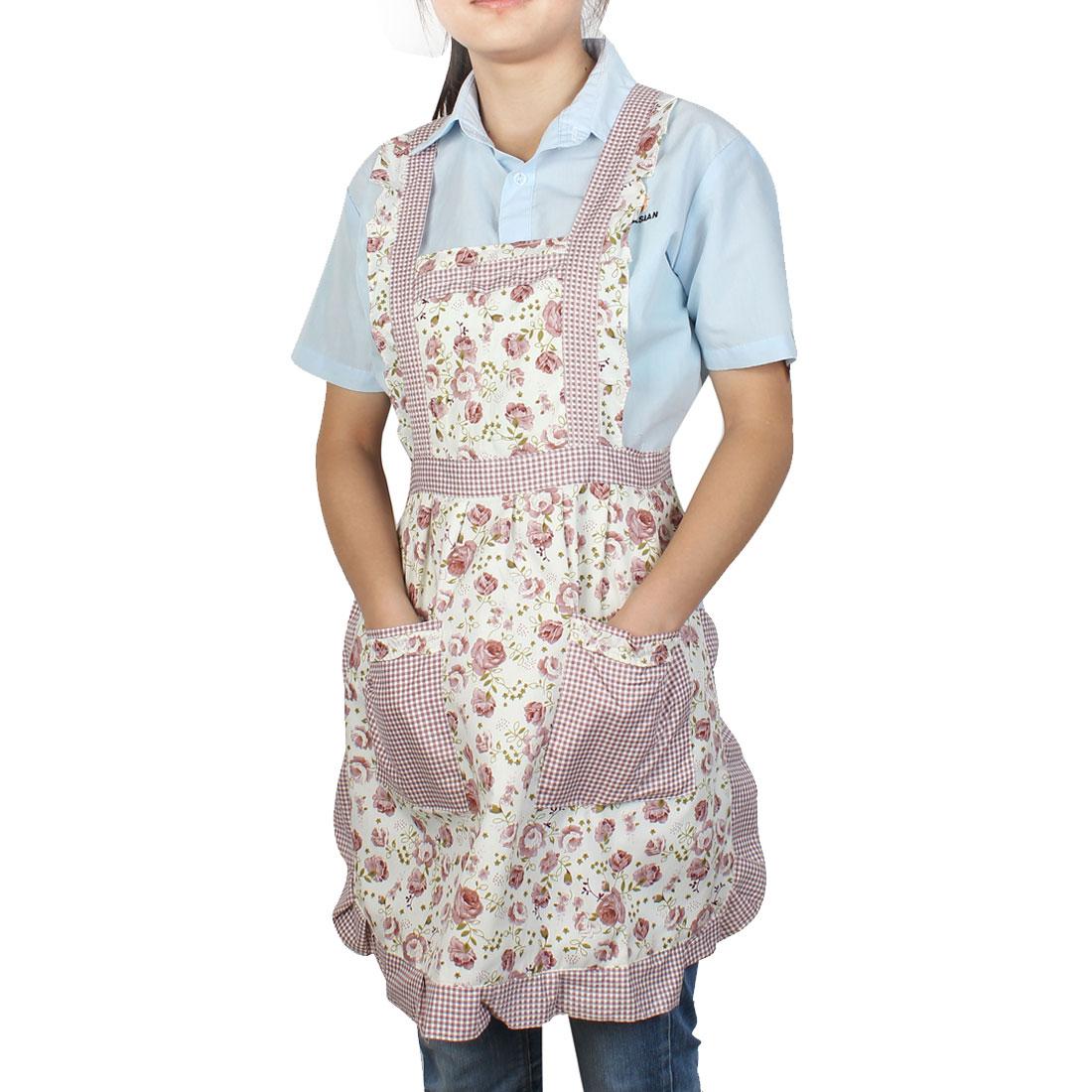 Housewares Cooking Light Purple Rose Pattern Dual Pocket Self Tie Bib Aprons