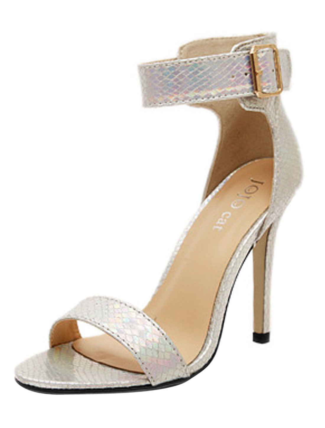 Women Metallic Ankle Strap Snakeskin-patterned Sandals Silver Tone US 7