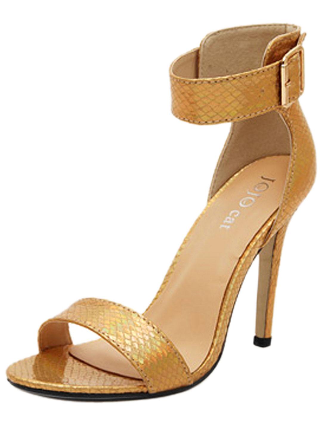 Women Metallic Open Toe Snakeskin-patterned Sandals Gold Tone US 7