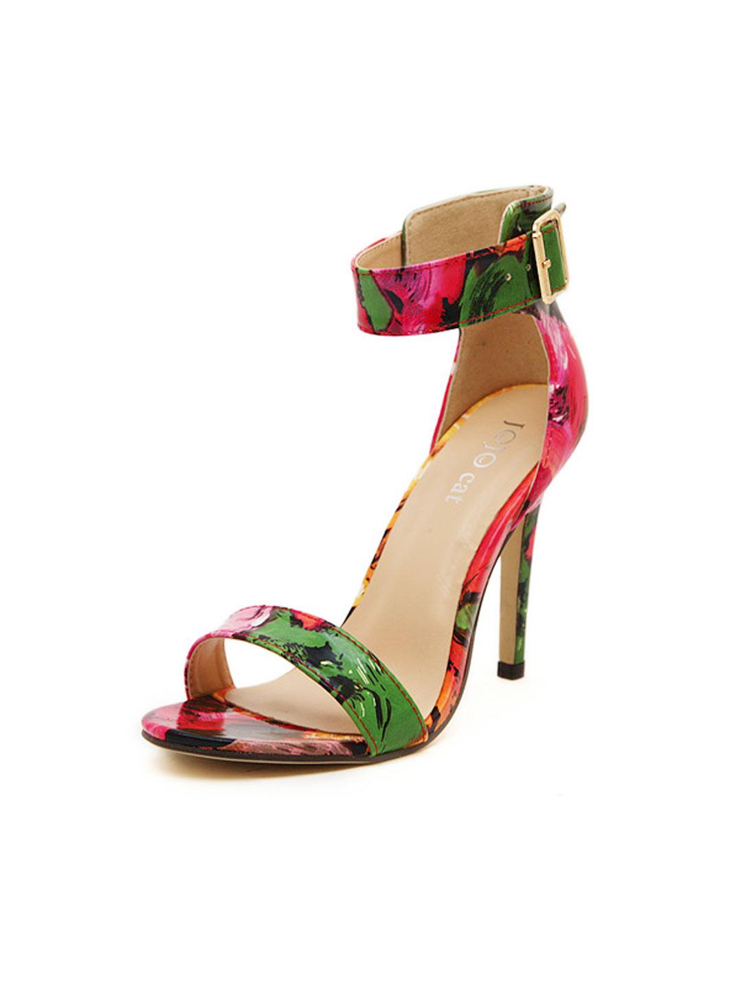 Women Floral Prints Open Toe Ankle Strap Sandals Multicolor US 8