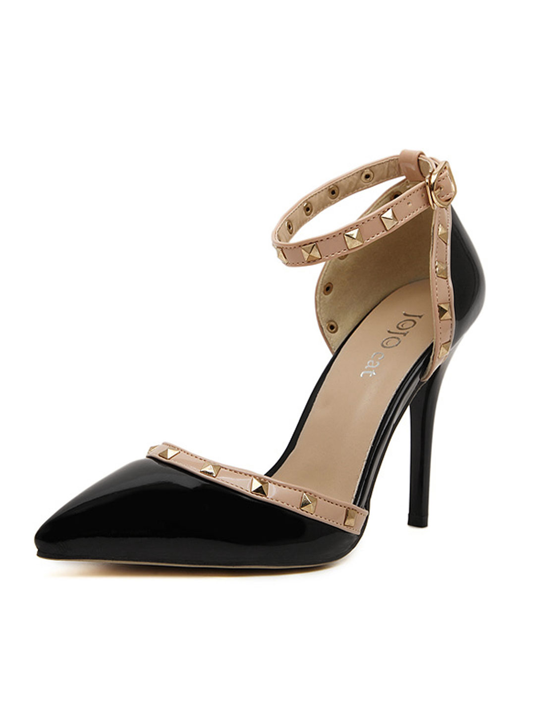 Woman Rivet Decor High Heels Pointed Ankle Strap Pumps Black US 7