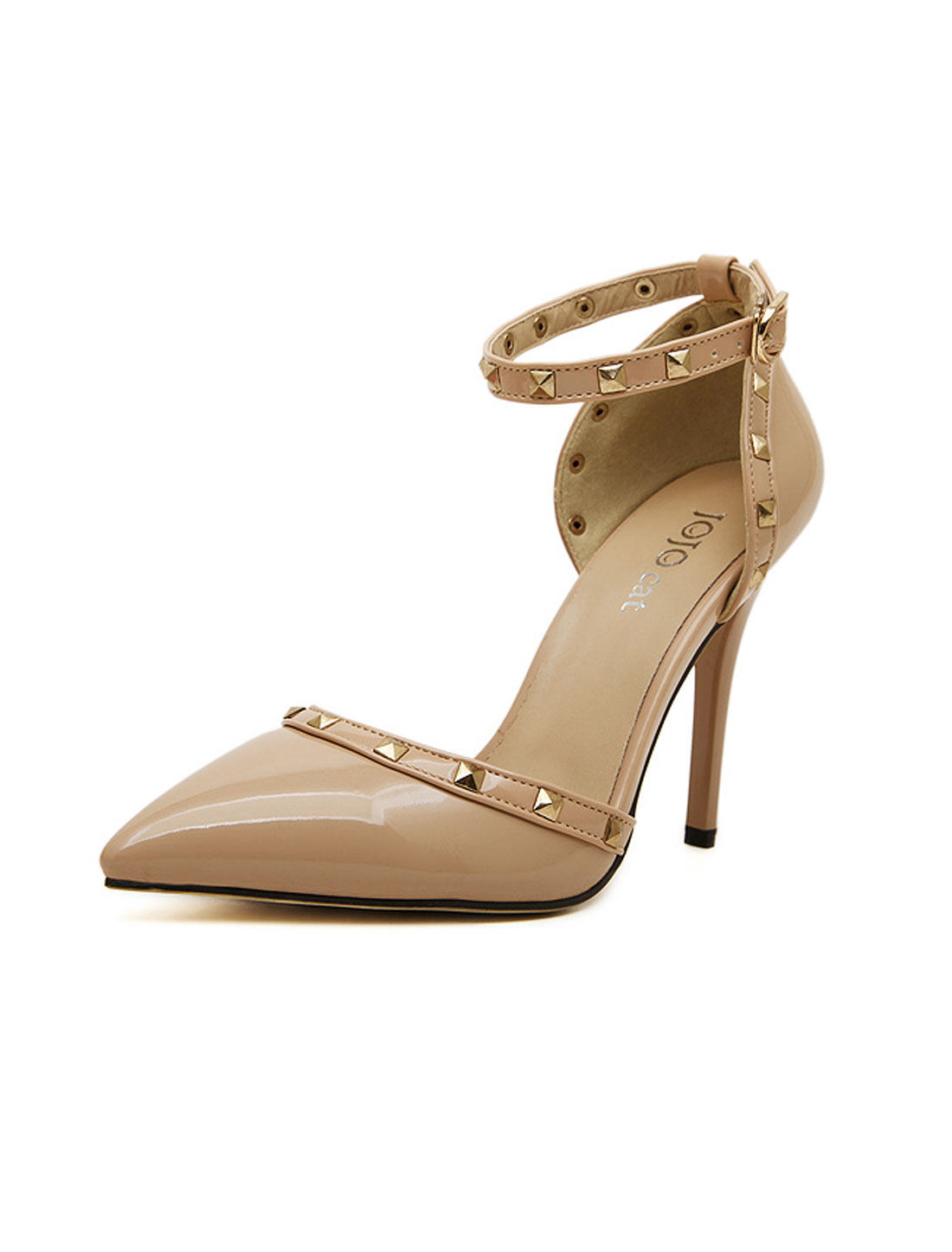 Women Rivet Embellished Pointed Toe Ankle Strap Pumps Apricot US 8