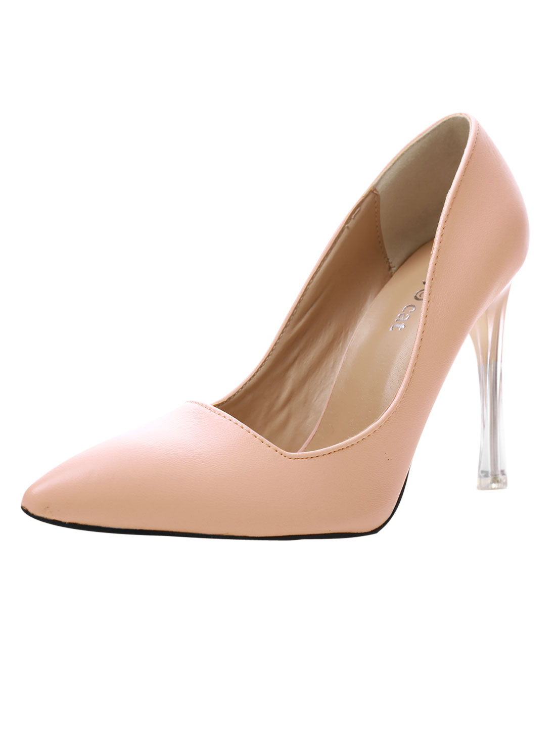 Woman Pointed Toe Translucent Stiletto Heel Pumps Nude Pink US 8
