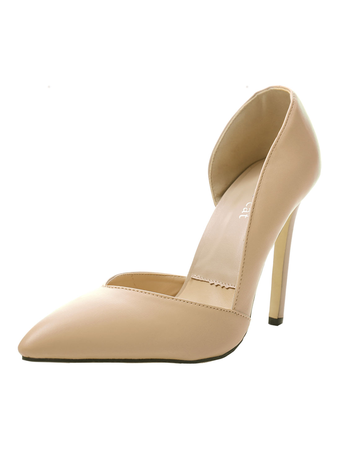 Woman Side Cutout Pointed Toe Party High Heels Beige US 8.5