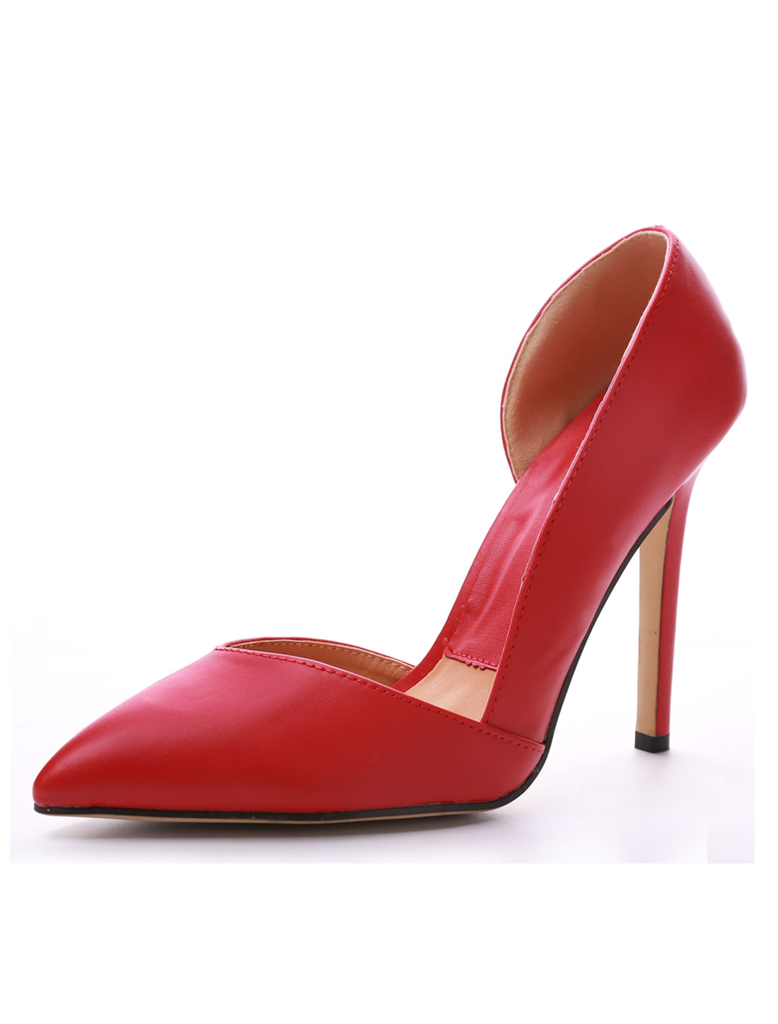 Women Side Coutout Pointed Toe Stiletto Heels Pumps Red US 8