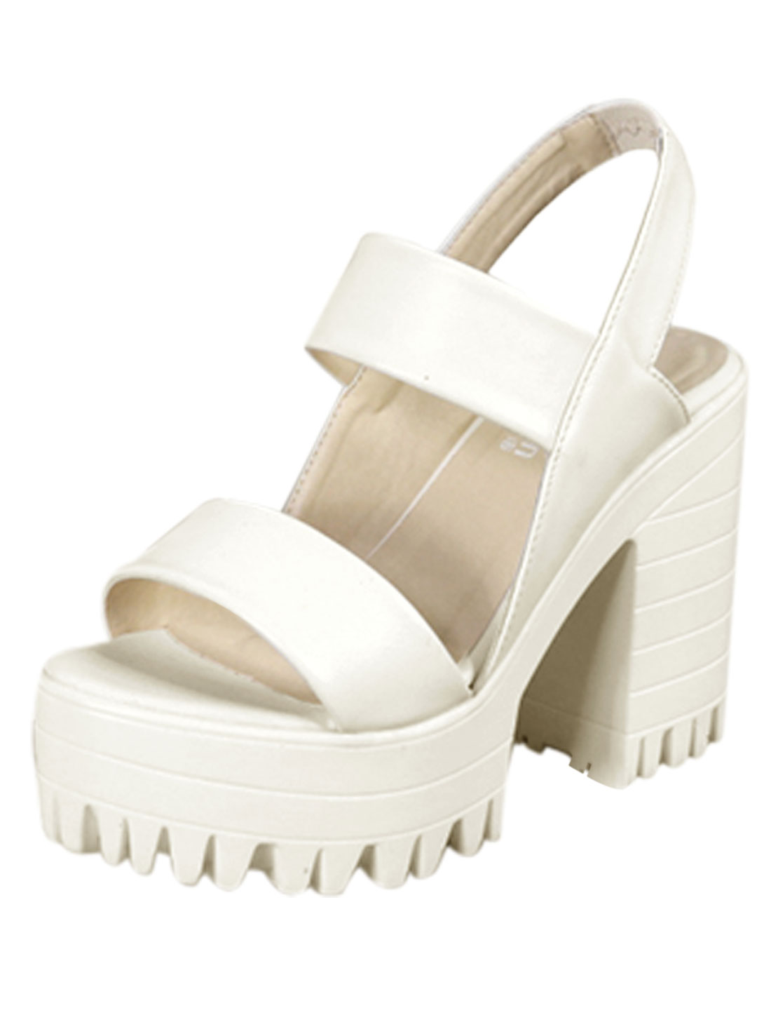 Women Ankle Strap Lug Sole Chunky Heels Summer Relaxed Sandals White US 7.5