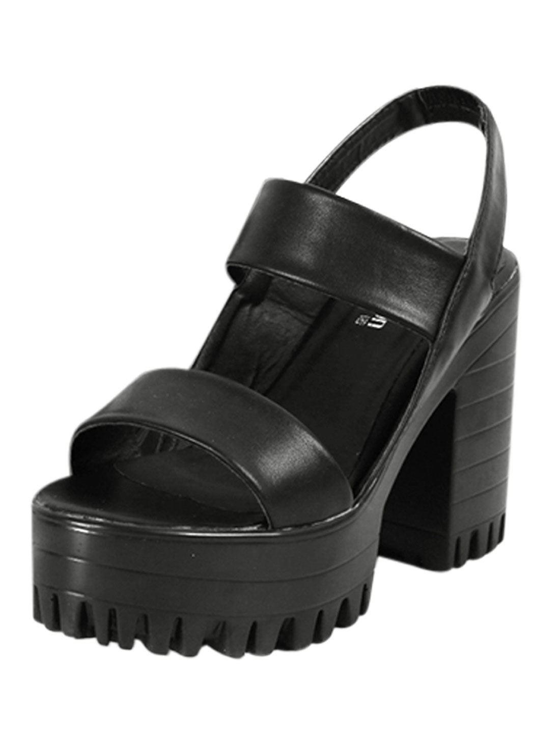 Woman Ankle Strap Lug Sole Chunky Heels Outdoors Sandals Black US 7.5