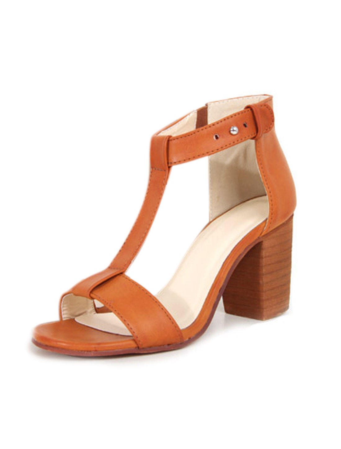 Lady Stacked High Heels Button Stud Closed T-strap Sandals Brown US 7