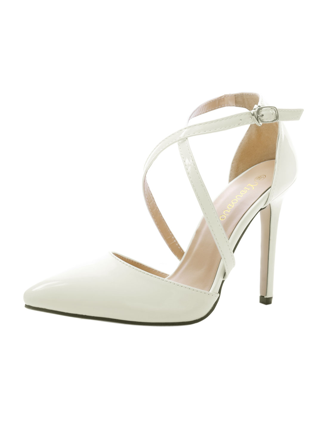 Ladies Point Toe Buckled Crisscross Ankle Straps Pumps White US 7.5