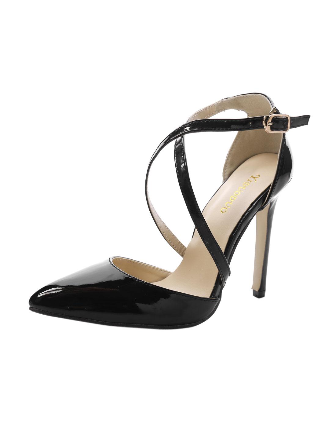 Women Point Toe Crisscross Straps Stilettos Black US 7