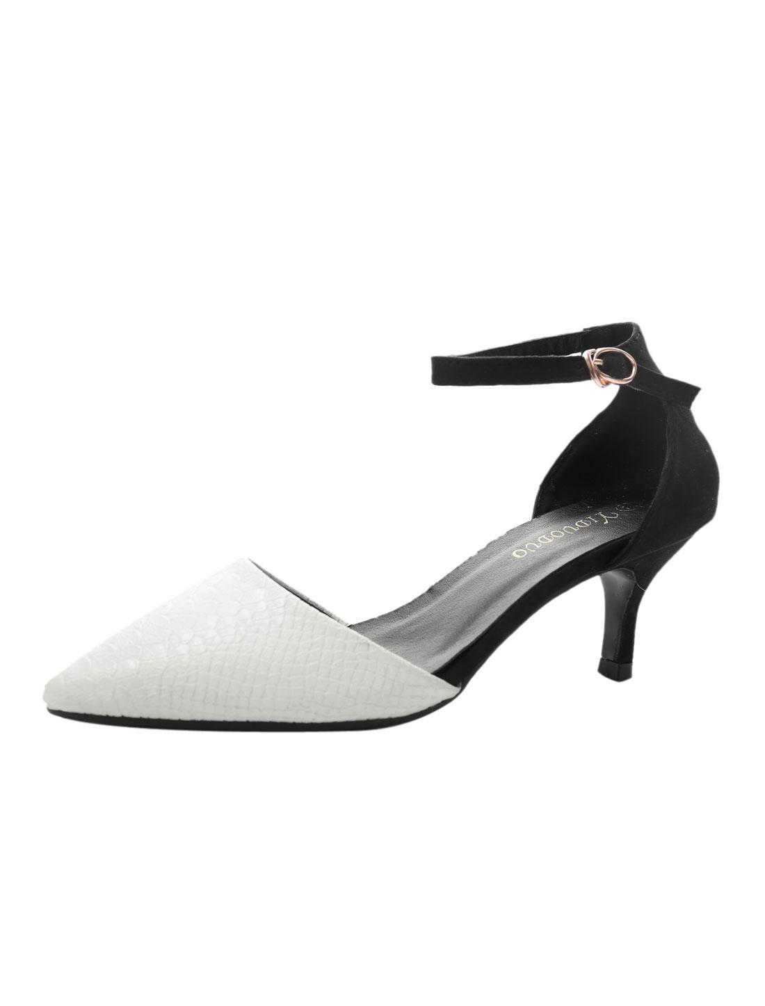 Women Pointed Toe Snake Effect Faux Leather Kitten Heels White US 6.5