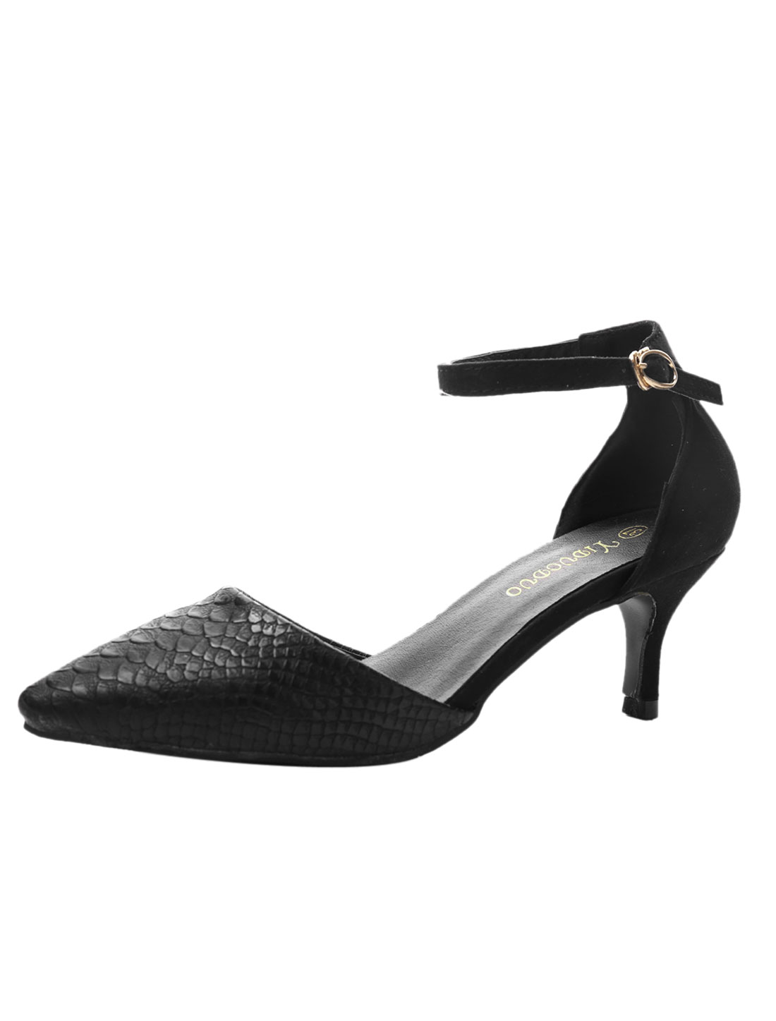 Ladies Ankle Straps Snake Effects Faux Leather Kitten Pumps Black US 7