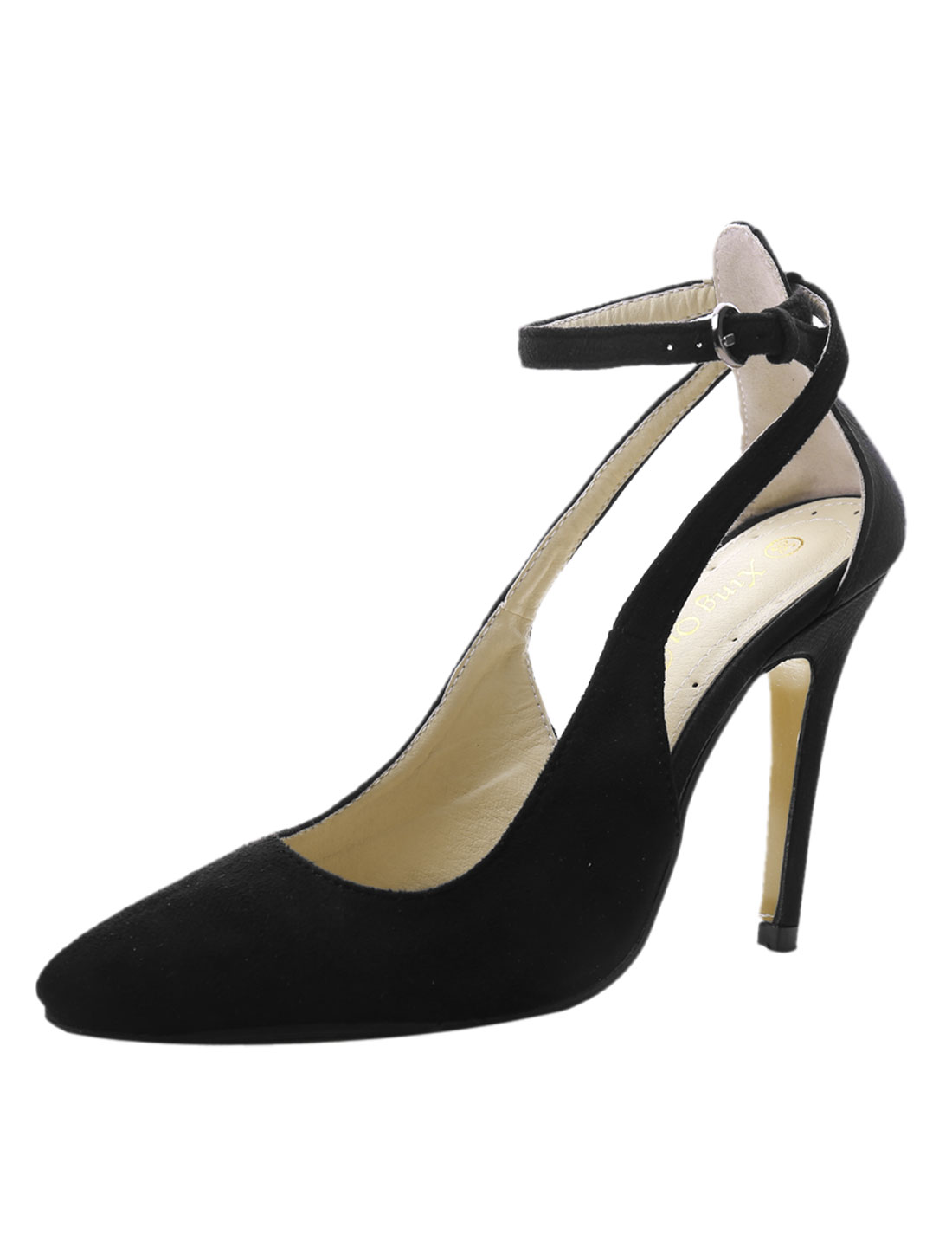 Women Sides Cutout Pointed Toe Adjustable Ankle Strap Pumps Black US 5.5