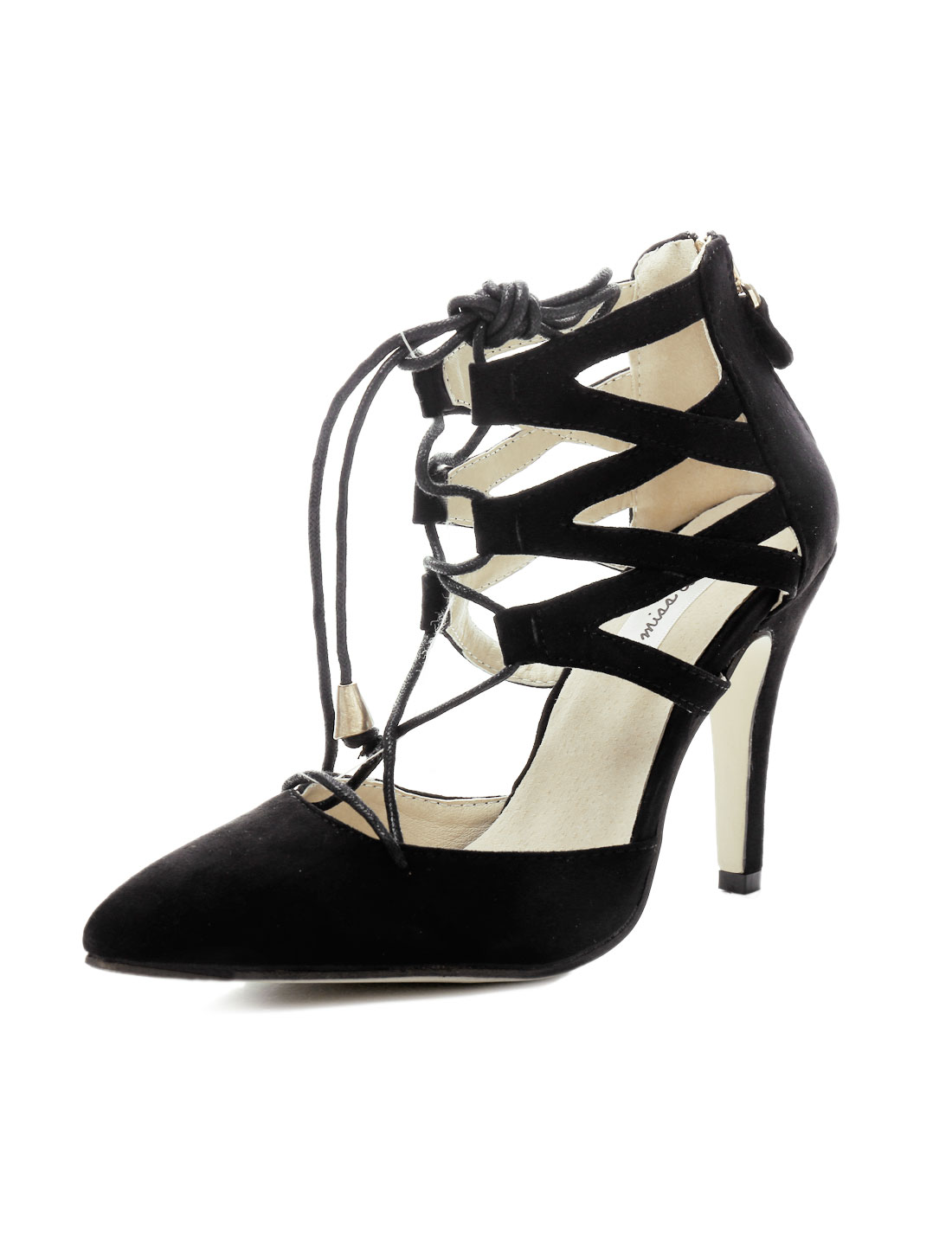 Women Lace up Straps Pointed Toe Zipper Back Casual Heels Black US 8