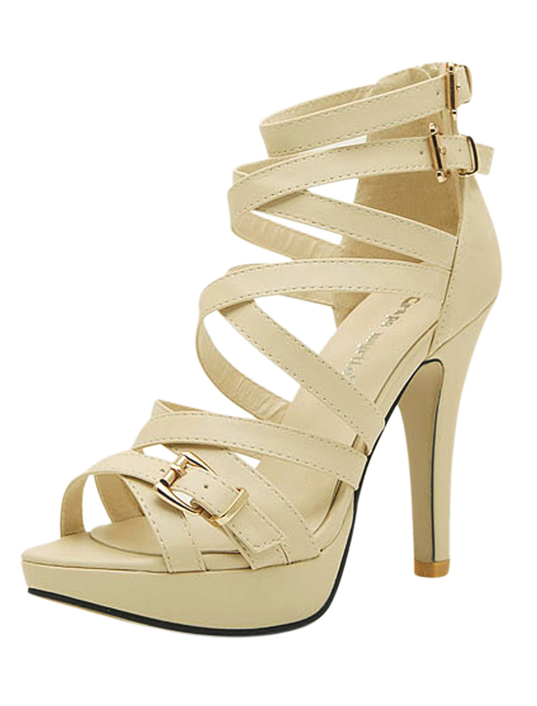 Woman Interlacing Straps Open Toe Zipper Back Summer Heels Beige US 7.5