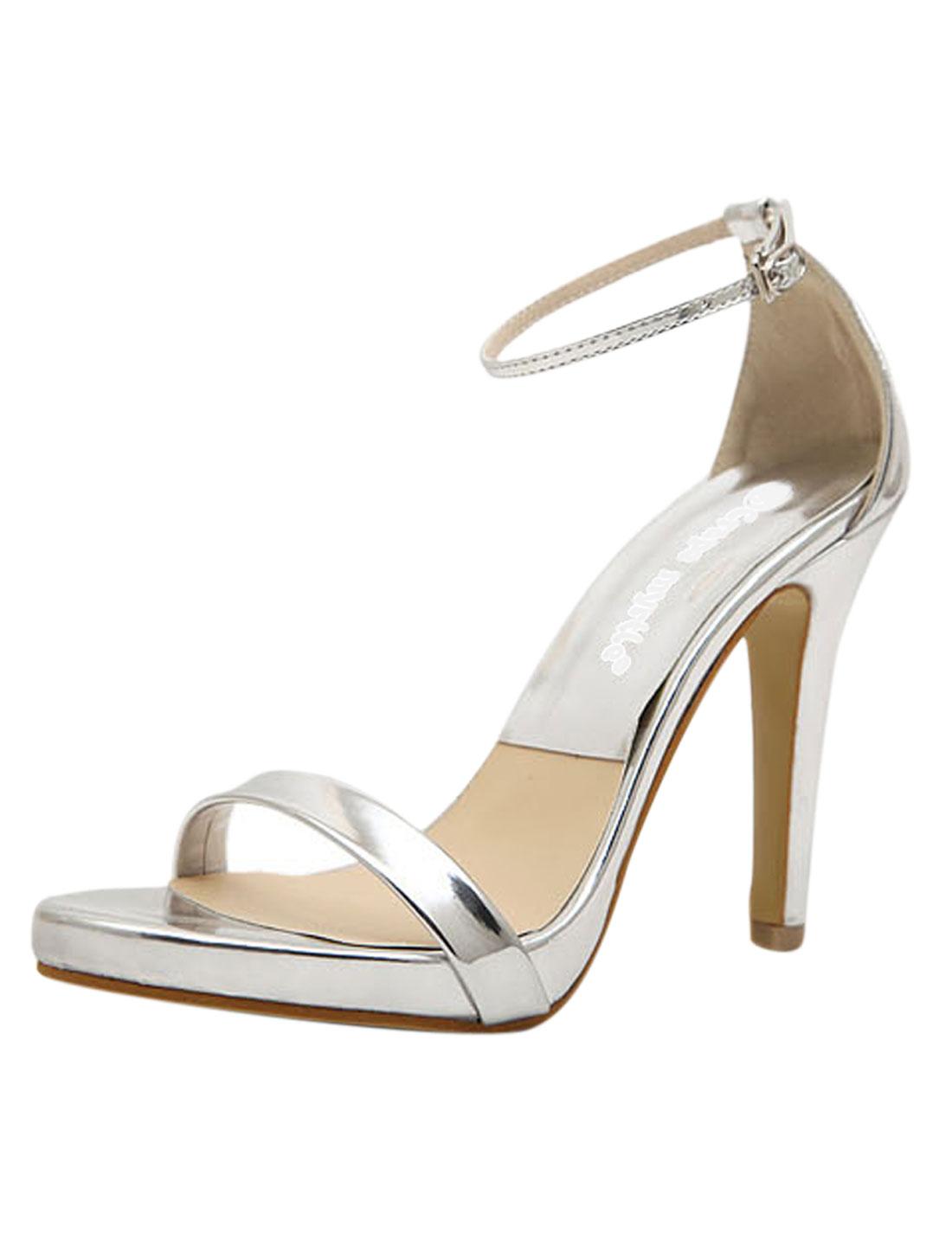 Women Open Toe Metallic Strappy High Heel Sandals Siver Tone US 7.5