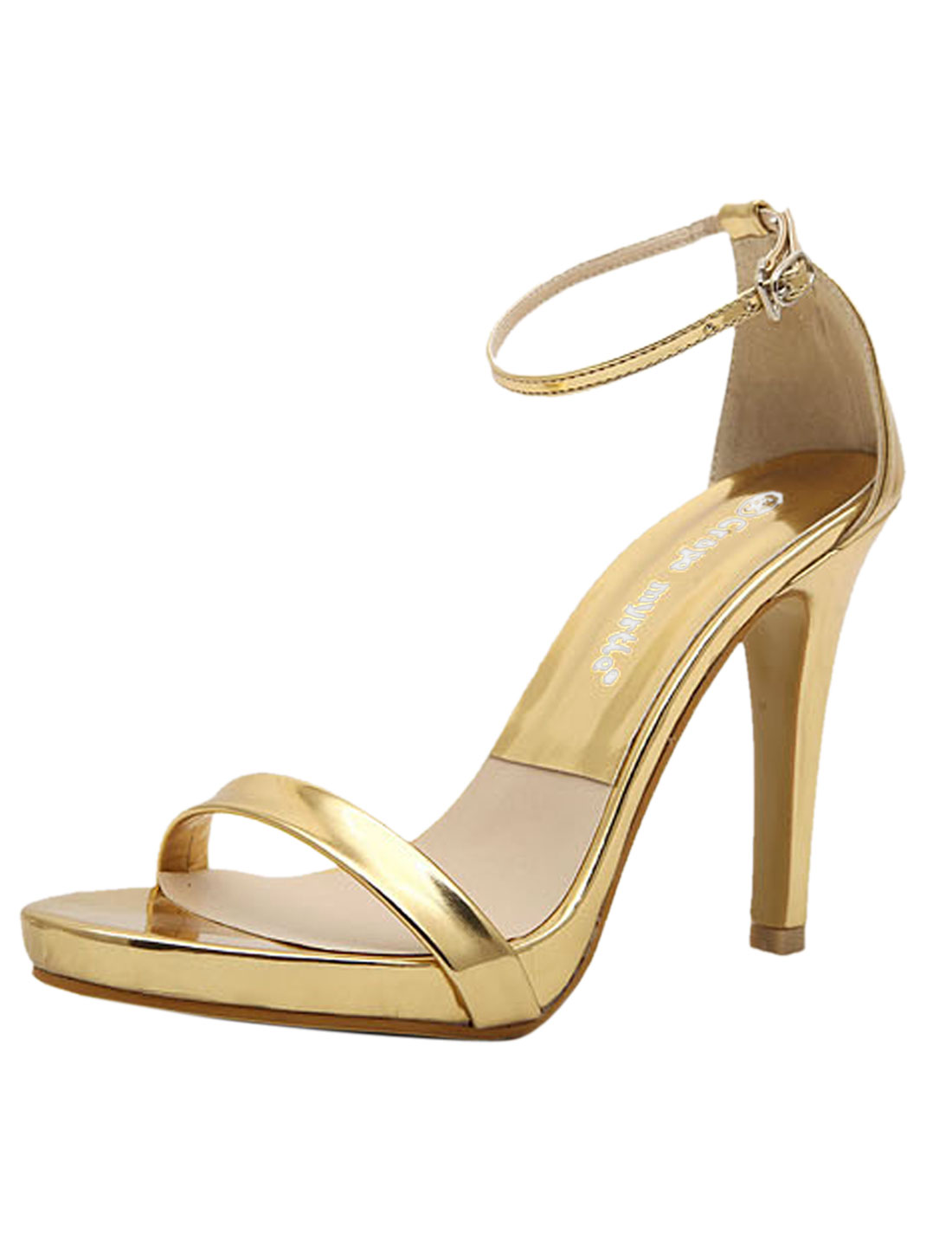 Lady Open Toe Buckled High Heel Sandals Golden Tone US 6.5