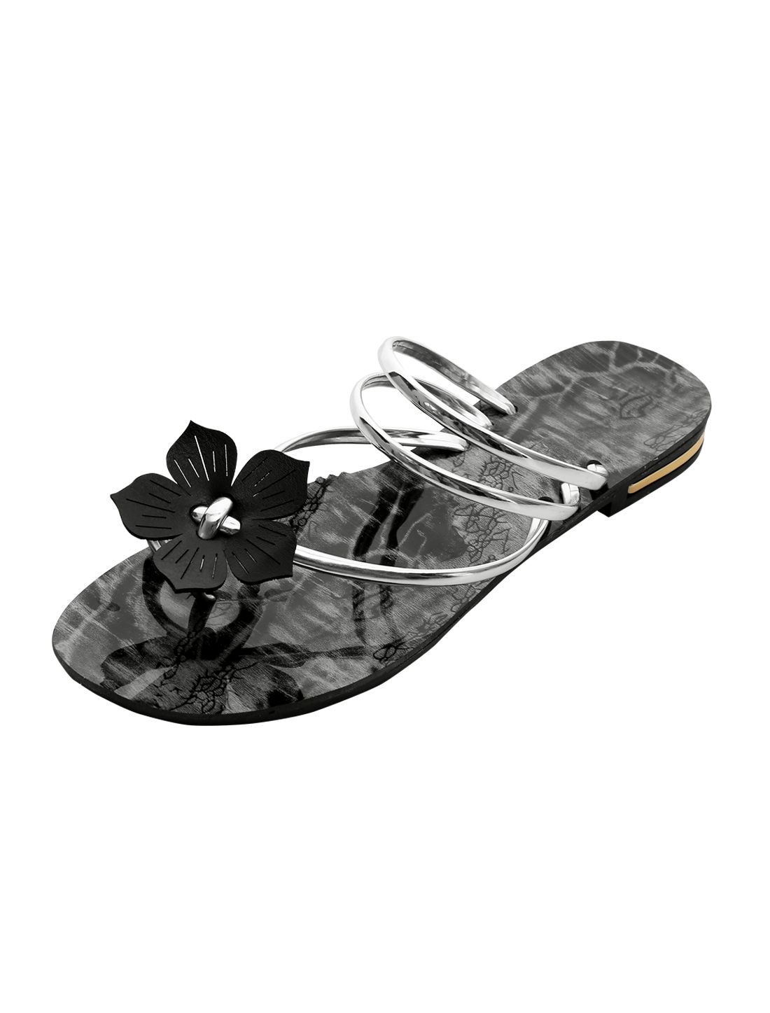 Lady Floral Decor Printed Strappy Slip on Sandals Silver Tone US 6.5