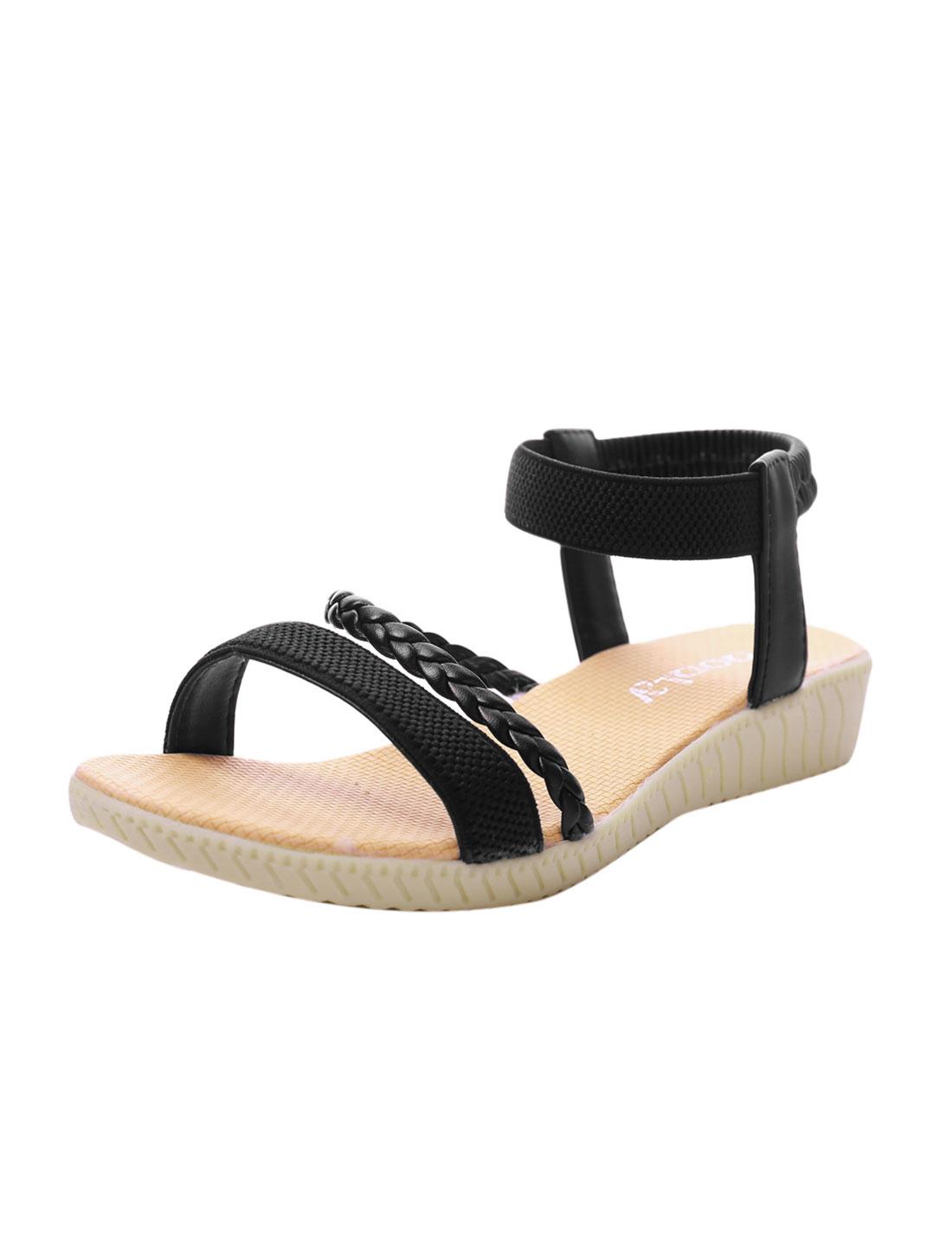 Woman Elastic Ankle Strap Weaven Strap Panel Sandals Black US 5