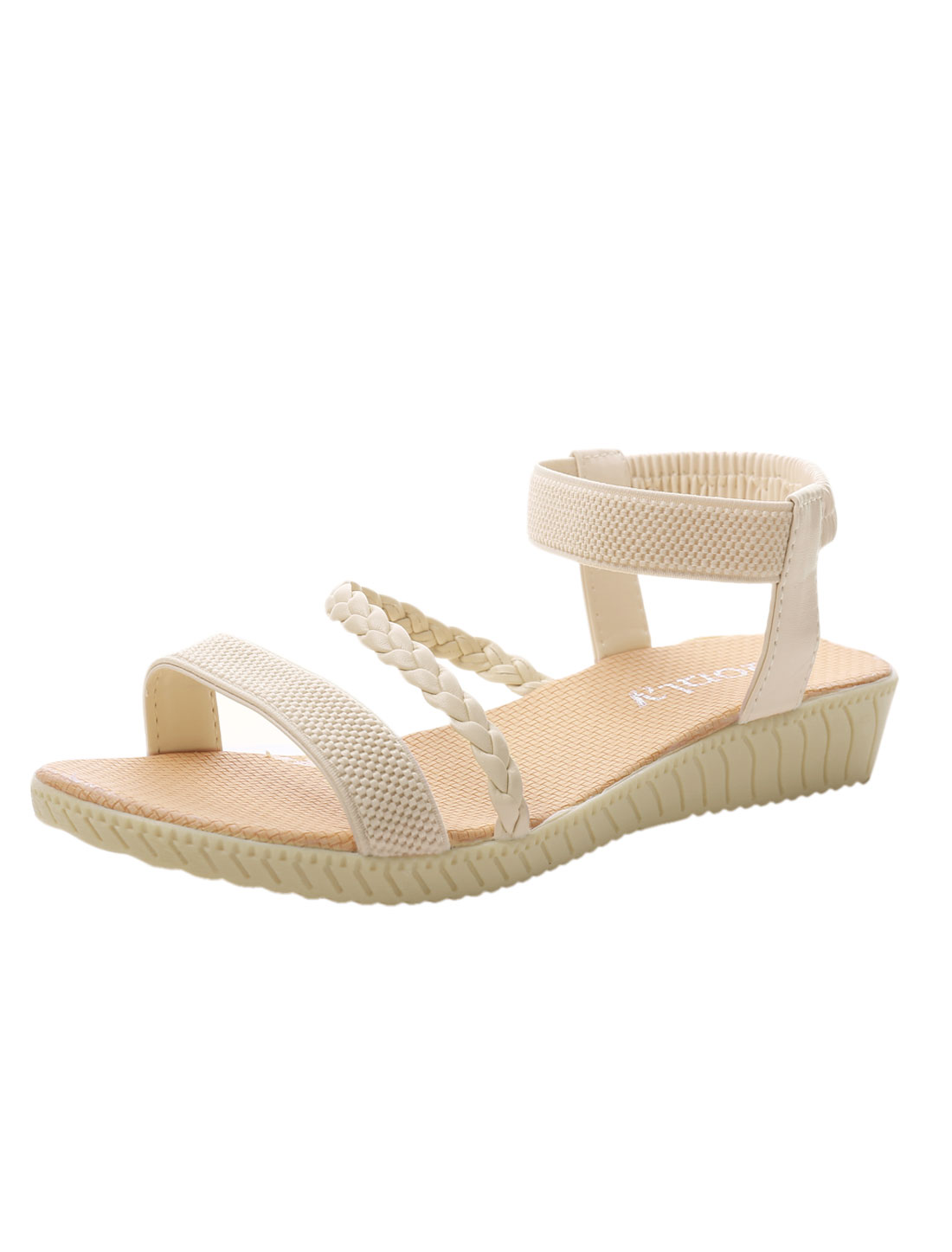 Ladies Elasticed Ankle Strap Panel Open Toe Summer Flat Sandals Beige US 5