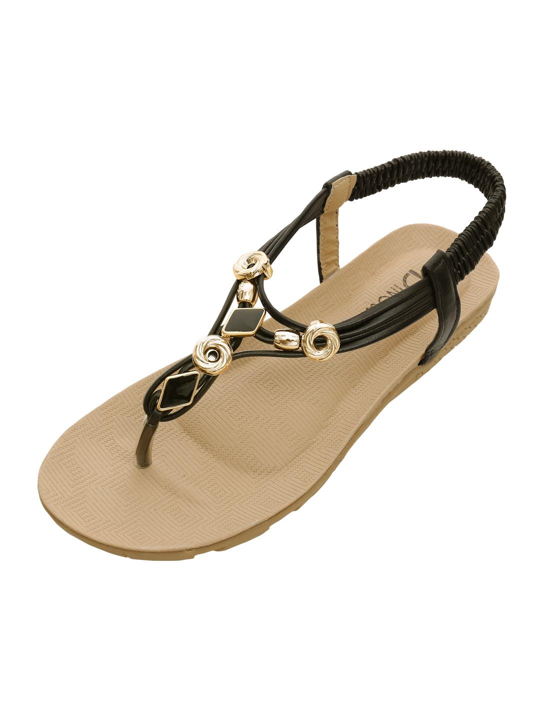 Ladies Classic Open Post Ankle Straps Rhinestones Sandals Black US 7