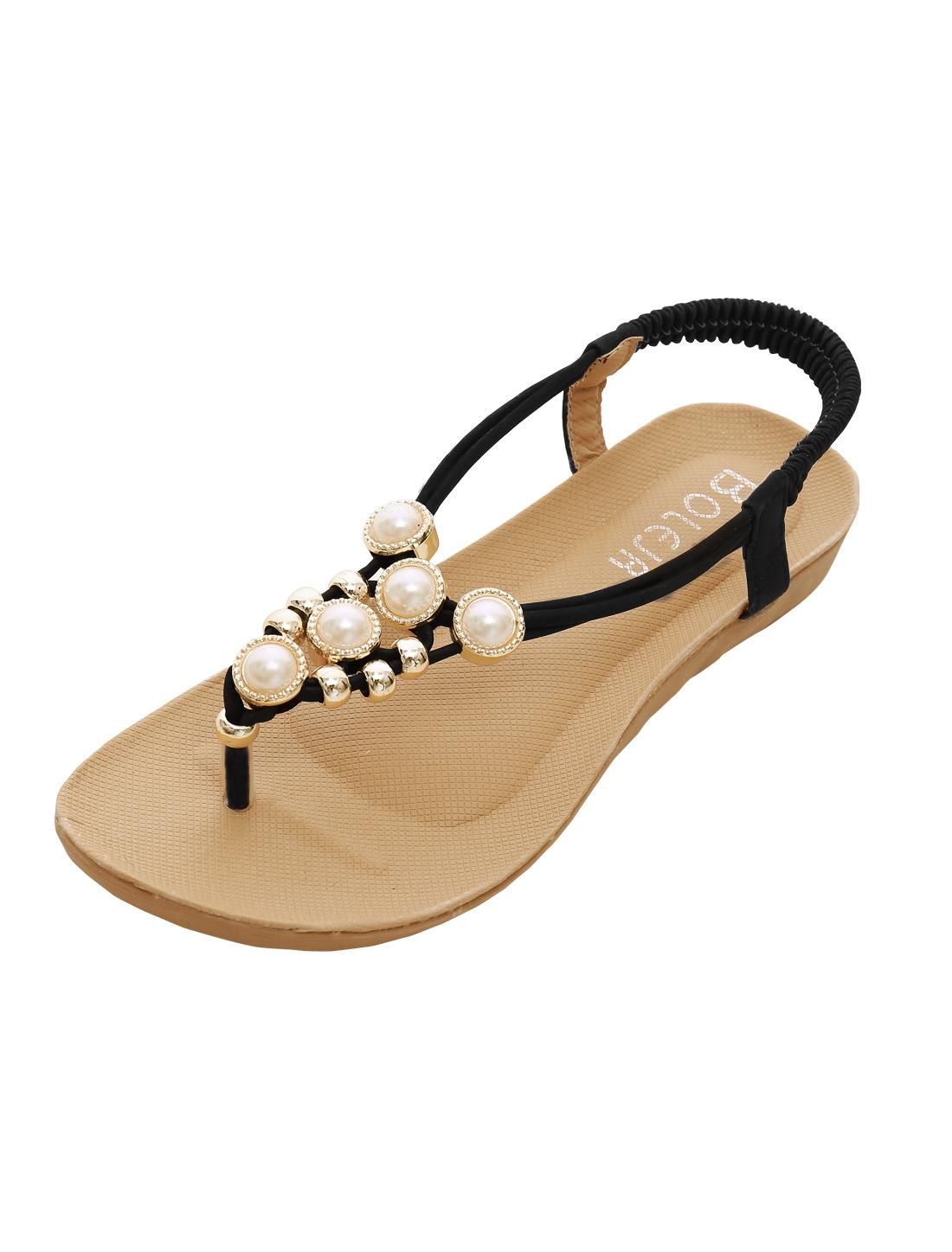 Women Elastic Ankle Strap Toe Post Summer Flat Sandals Black US 5