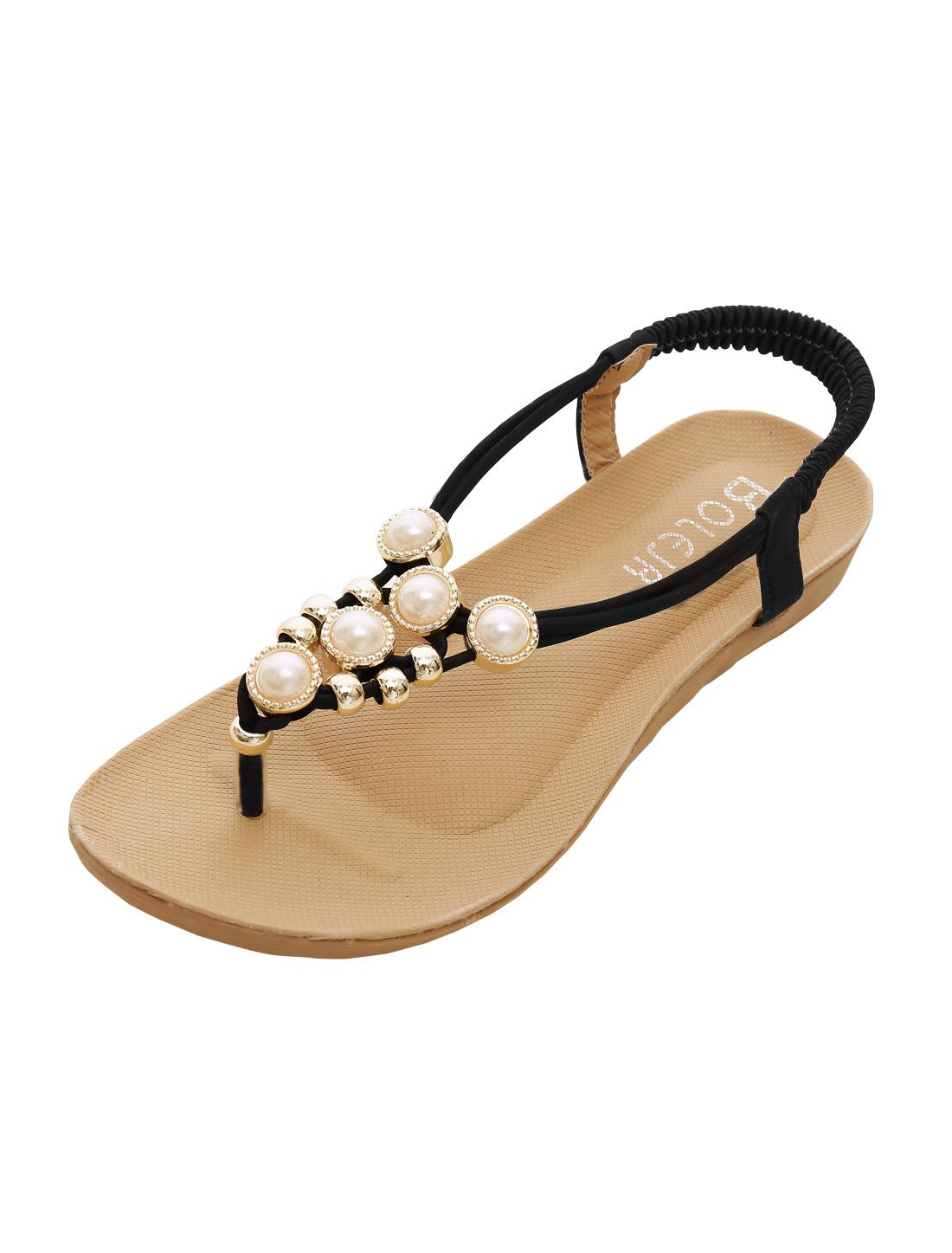 Woman Rhinestones Embellished Summer Casual Flat Sandals Black US 6